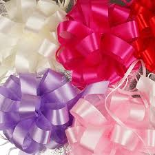shrink wrap bags with pull bows prima tulle satin pom pom pull bows