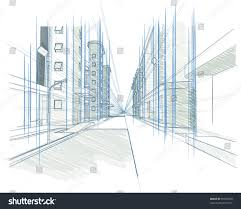 perspective drawing building concept modern city stock vector