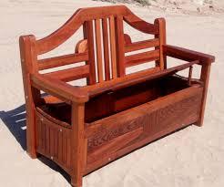 redwood storage bench custom outdoor wooden storage