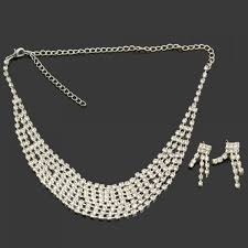silver bridal necklace images Weiya 50 24 charming rhinestone necklace stud earrings bridal jpg