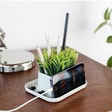 telephone stand desk organizer kikkerland desktop fake potted grass plant pen phone stand desk