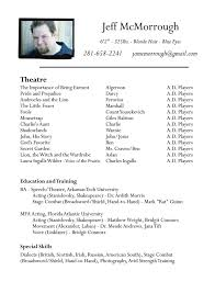 Audition Resume Sample Theatrical Resume Format Skill Acting Resume Template 10 Acting