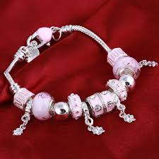 bracelet charm beads silver images Zoshi pink crystal charm silver bracelets bangles for women with jpg