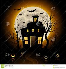 blue halloween invitation haunted house background stock vector