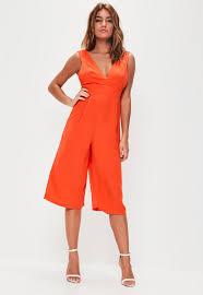 orange jumpsuit orange plunge front culotte jumpsuit missguided