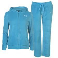 everlast womens velour track suit tracksuit long sleeve hooded zip