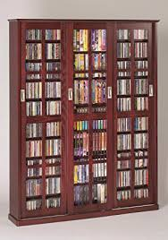 Multimedia Cabinet With Glass Doors Leslie Dame Ms 1050dc Mission Style Multimedia Storage