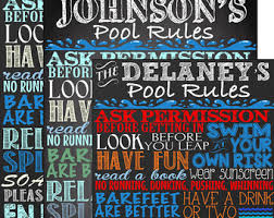 Custom Signs For Home Decor Pool Rules Sign Etsy