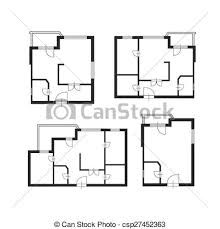clip art vector of vector furniture architect plan of building set