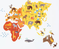World Map Cartoon by World Map Wall Decal Walldecals Com