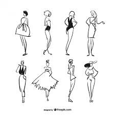 sketched fashion models collection vector free download