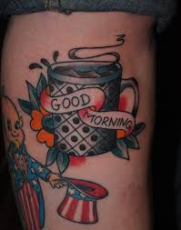 coffee cup tattoo knock knock the devil
