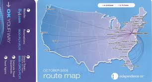 Carrier Route Maps airline timetables independence air june 2004