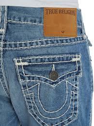 light blue true religion jeans lyst true religion ricky straight leg light wash w flap jeans in