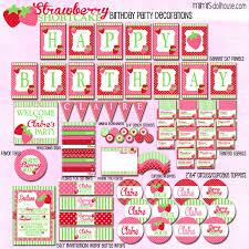 printable birthday decorations free unique strawberry shortcake birthday invitations free printables