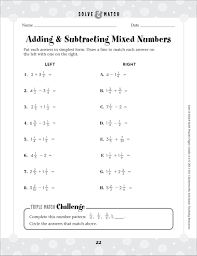 subtracting mixed fractions worksheets worksheets