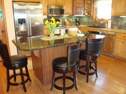 l shape kitchen decoration using round cherry wood black leather