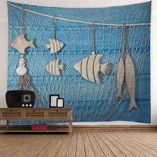 fish wood grain fishing net print wall tapestry light blue w fish wood grain fishing net print wall tapestry light blue w51 inch l59 inch