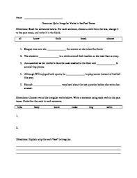 second grade irregular verbs worksheet or assessment ccss l2 1d tpt