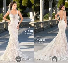 lace mermaid wedding dresses 2017 spaghetti with crystal