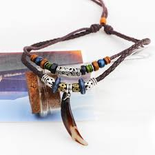 multi layered bead necklace images Vintage tribal bohemian wolf tooth pendant with braided leather rope m jpg