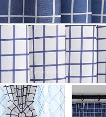 Navy Blue Plaid Curtains And White Striped Curtains In Eco Friendly Style For Fresh Bedroom