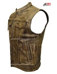 biker jacket vest men u0027s distressed brown leather motorcycle club vest bikers gear