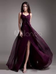 grape split beaded chiffon prom dress milanoo com