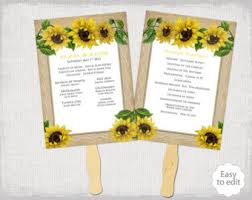 sunflower wedding programs program fan etsy
