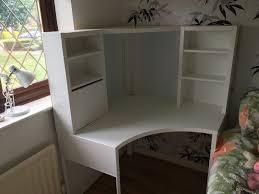 ikea micke corner workstation and torkel black swivel chair in