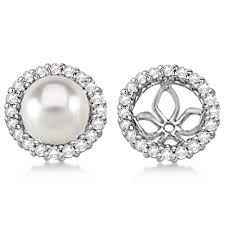 pearl and diamond earrings diamond earring jackets for pearl studs 14k white gold 0 63ct