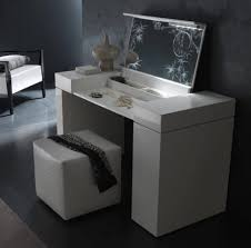 Vanity Folding Mirror Furniture Home Contemporary White Makeup Vanity With Lights