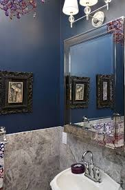 Curtains For Dark Blue Walls Dark Blue Walls Powder Room Eclectic With Purple Crystal
