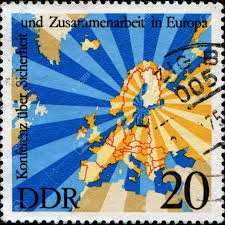 East Germany Map by German Democratic Republic Circa 1975 A Stamp Printed In Gdr
