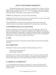Business Partner Proposal Letter by Silent Partnership Agreement General Partnership Partnership