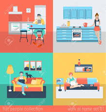 set of young man woman freelance homework in kitchen living room