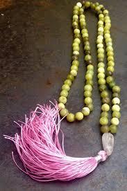 spiritual jewelry mala 108 new jade serpentine prayer with pink silk