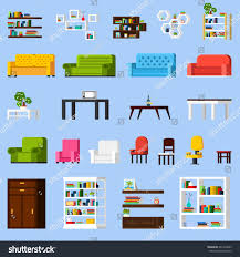 interior elements orthogonal icon set different stock vector