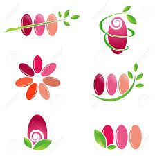 nail spa design set with green leaves over white background