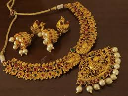 golden necklace designs images Exquisite golden designer antique golden necklace set emporia jewels jpg