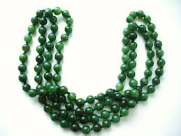 jade beads necklace images Long vintage necklace of genuine jade nephrite beads in dark jpg