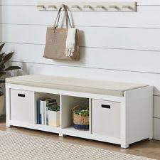 Storage Bench With Cushion Entryway Modern Storage Benches Ebay