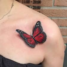 colorful butterfly on front shoulder