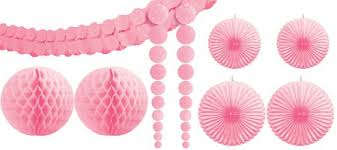 pink decorations pink balloons banners swirl decorations