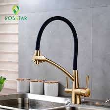 brass kitchen faucets luxury golden brass kitchen faucet with black color universal