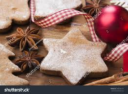 christmas background gingerbread cookies cinnamon sticks stock