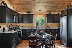 blue kitchen cabinets in cabin using color in a log home