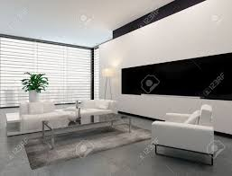 modern living room interior in white grey and black in minimalist
