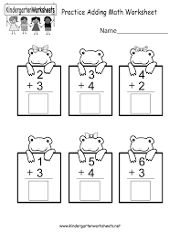 Worksheets For Math Practice Adding Math Worksheet Free Kindergarten Worksheet For Kids