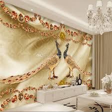 golden peacock jewelry wallpaper luxury wall mural custom 3d